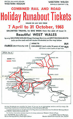 Western Welsh & Gwr 1963 Holiday Runabouts Ticket Handbill With Map