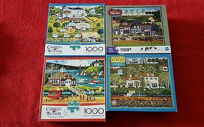 Charles Wysocki's 1000 Piece Puzzles - Lot of 4- USED