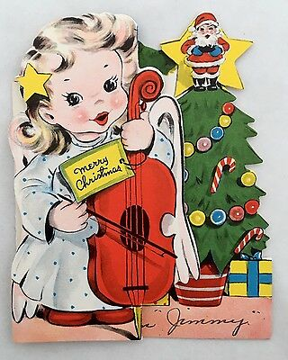 Vintage Die Cut Christmas Card Pretty Cello Playing Angel Girl Tree Santa Claus