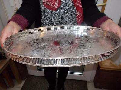 Pretty Vintage Large Silver Plated Gallery Tray Lovely Condition