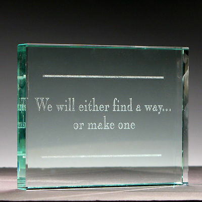 Inspiring LASER ETCHED Jade CRYSTAL glass PAPERWEIGHT award