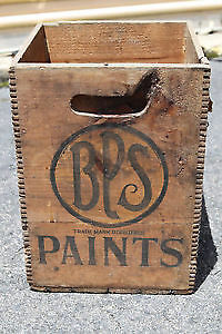 Vintage BPS Paints Wooden Shipping Crate Box