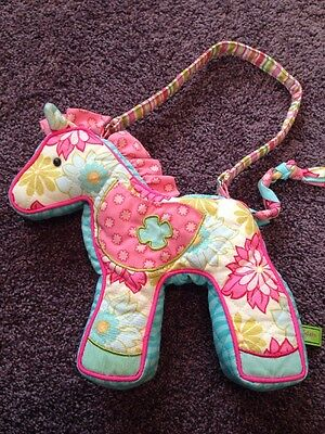 Douglas Sassy Pet Saks Girls Purse Bag Quilted Horse Pony Flowers Stripes Pink