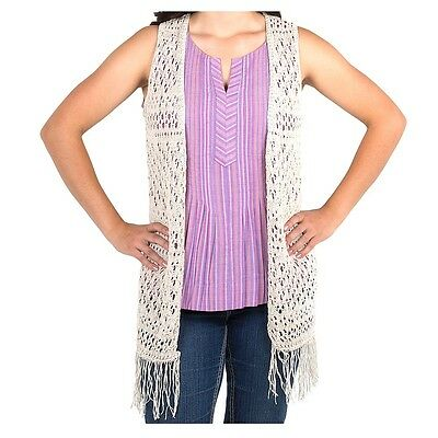 20510 Noble Outfitters Women's Arizona Knit Fashion Vest- Oatmeal NEW