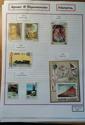 Ajman Dependencies (Manama) Stamps 1968 to 1972. 10 pages from a collection