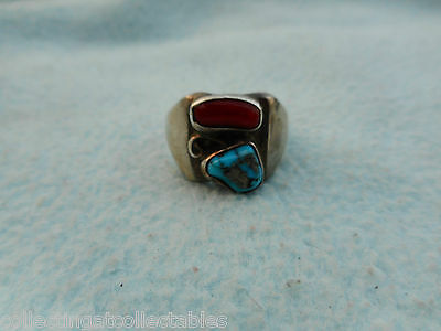 Sterling Silver Native American  Ring Turquoise / Coral  Stones 9 grams