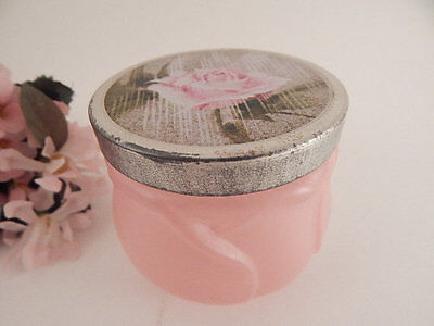 Avon Skin Softener Jar Empty Pink Glass Dew of Roses Fragrance VTG Vanity Dish