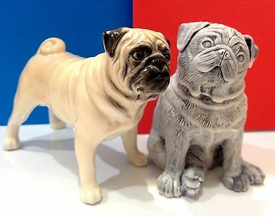 Pug figurines dogs marble chips and porcelain Souvenirs from Russia high quality