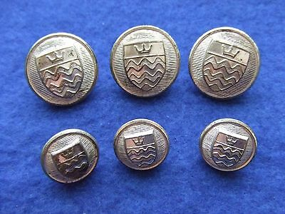 Job Lot Of Unknown Crest Buttons, Possibly Waterways/town Crest?