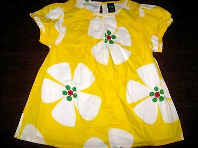 EUC Baby Gap yellow white floral short sleeve shirt girls 3T
