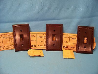 Lot of 3 NOS Vintage Bakelite Switch Cover Brown Ribbed Standard Electric Mfg