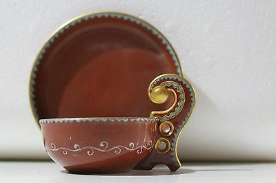 Outstanding French Sarreguemines Middle East Ottoman Cup & Saucer circa 1860