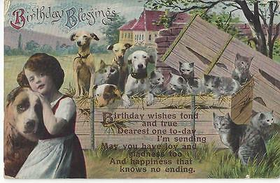 Fantasy Multi Cats And Dogs 1930 Greeting Postcard