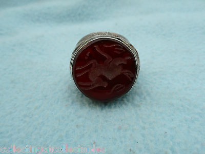 Large Sterling Silver Native American Red Intaglio Ring   28.6 grams