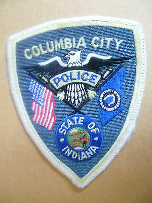 Patches: COLUMBIA CITY STATE OF INDIANA USA POLICE PATCH (NEW*apx. 12x10 cm)