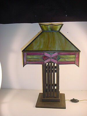 C1910 Arts & Crafts Stickley Style Large Table Lamp~Leaded Shade~Oak Base~Nice!