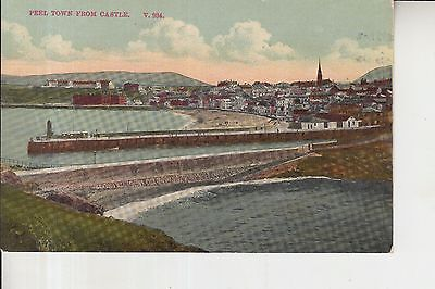 Old Rare Postcard 1925 Peel Town from Castle Isle of Man