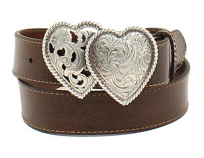 Ariat Western Womens Belt Leather Two Heart Buckle Choc Brown A1523002