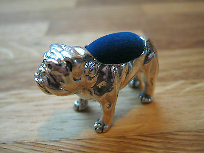 Novelty Edwardian Style Solid Sterling Silver Bulldog Dog Pin Cushion