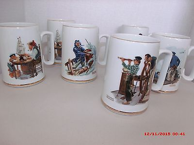 Norman Rockwell Museum Coffee Mugs Vintage Gold Trim (ca 1985) Lot of 6