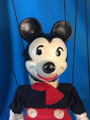 """Vintage 1950's Disney Mickey Mouse 12"""" Marionette Puppet Composition"""
