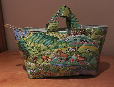Handmade Knitting/Sewing Bag, poly/cotton, padded & quilted. Farmyard fabric