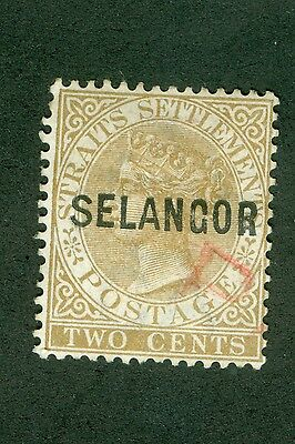 MALAYA SELANGOR TWO CENTS BROWN OF 1882 OVERPRINT WIDE A and S. SG 15 USED