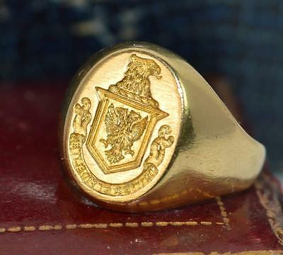 18ct Gold Double Eagle with Motto Bravely & Faithfully Intaglio Seal Ring d0698