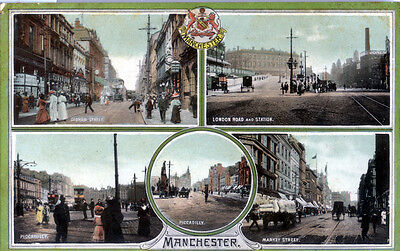 Manchester old multiview colour postcard of street scenes