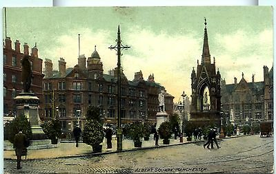 Manchester - Old postcard of Albert Square and Memorial.