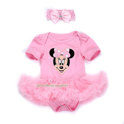 Baby Girl Newborn Headband+Playsuit Party Dress Outfit Tutu Clothes 6-9M Gift