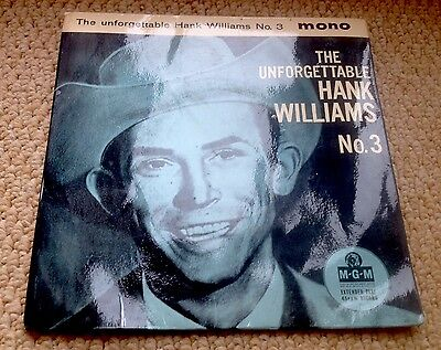 The Unforgettable Hank Williams Scarce 1960 UK EP MGM MINT-!
