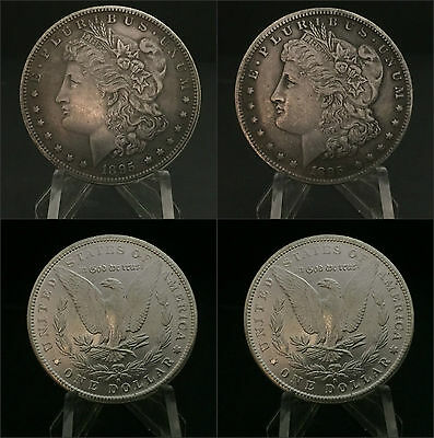 Pair of Two Sided 1895 Morgan Silver Dollar Coins 1 Two Headed and 1 Two Tailed