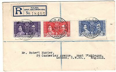 British Soloman Is:1937:Coronation Set on Registered Cover.