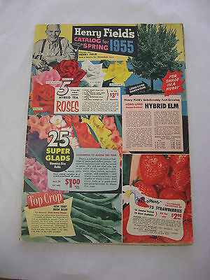 Henry Field's catalog for spring 1955, fruits vegetables flowers trees chickens