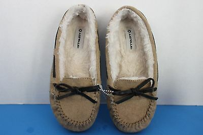 615363dacf0de Airwalk Girl's TAN Suede Faux Fur lined MOCCASIN Slippers~Size 12.5~Robber  Soles
