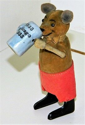 ** 1933 CHICAGO WORLD'S FAIR SCHUCO Wind Up 'BEER DRINKING BEAR' Germany **