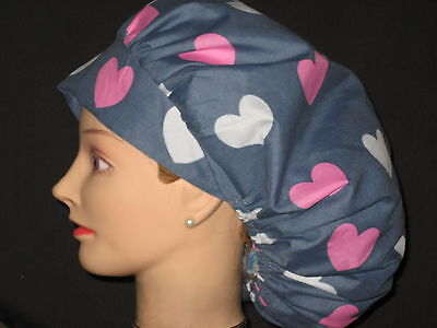 Surgical Scrub Hats/Caps Valentines Days pink & white hearts on gray background
