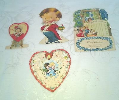 Vintage Mixed Lot Valentine Valentine's Cards Fold Out Lace Dolls $7.99