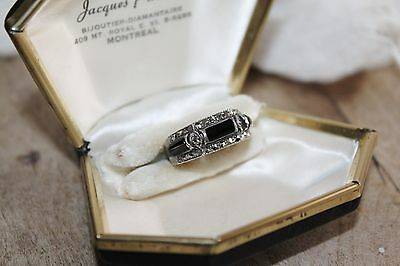 ART DECO Vintage STERLING Silver 3 stone ONYX & Marcasite ring sz 8 1/4