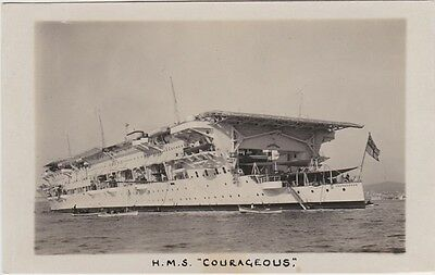 """Royal Navy Real Photo RPPC. HMS """"Courageous"""" Aircraft Carrier. Torpedoed.  1930s"""
