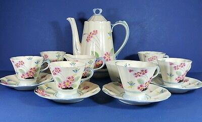 "Lovely Quality Tuscan China Original Art Deco ""plant"" Coffee Set For Six"