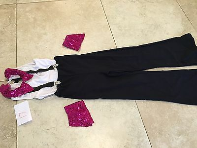 Girls Dance Outfit- White Leotard And Black Pant, Connected Braces, Wristbands