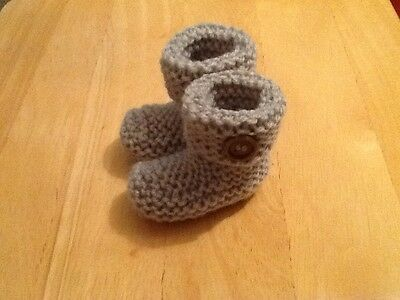 Baby's Hand Knitted Booties Newborn Silver Grey