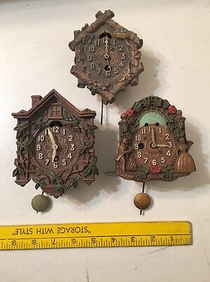 3 Vintage Novelty Cuckoo Clocks Lux & 2 Keebler Parts Projects