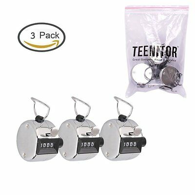 Handheld Tally Counter Teenitor Metal Compact 4 Digit Number Clicker Golf New