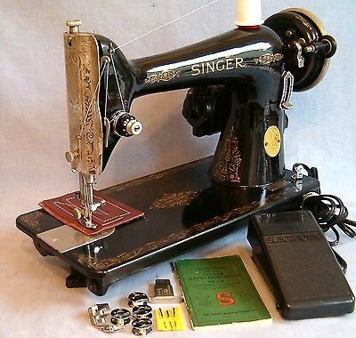 Singer 66 HEAVY DUTY Sewing Machine Upholstery Leather REFURBISHED New Wiring