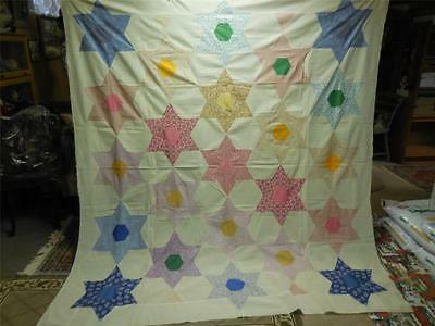 "Antique Appliqued 6 Point Star Quilt Top 84"" X 92"""