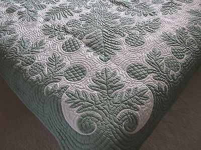 Hawaiian quilt HANDMADE BEDSPREAD wall hanging 100% hand quilted/appliqued 80""