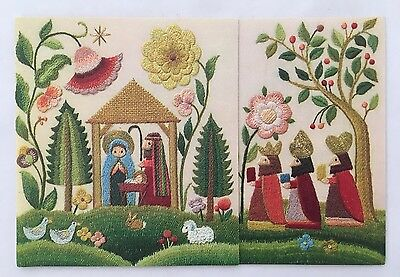 Vintage Embossed HALLMARK Christmas Card Nativity Baby Jesus Wise Men Embroidery